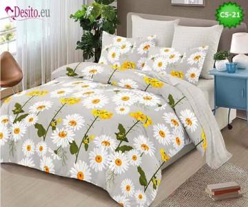 Спално бельо от 100% памук, 6 части и чаршаф с ластик с код C5-21