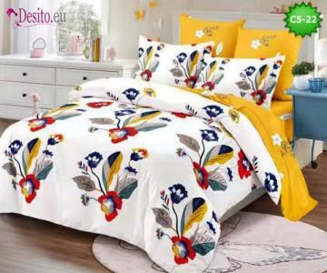 Спално бельо от 100% памук, 6 части и чаршаф с ластик с код C5-22