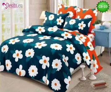 Спално бельо от 100% памук, 6 части и чаршаф с ластик с код C5-23