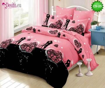 Спално бельо от 100% памук, 6 части и чаршаф с ластик с код C5-25