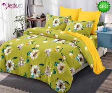 Спално бельо от 100% памук, 6 части и чаршаф с ластик с код C5-27