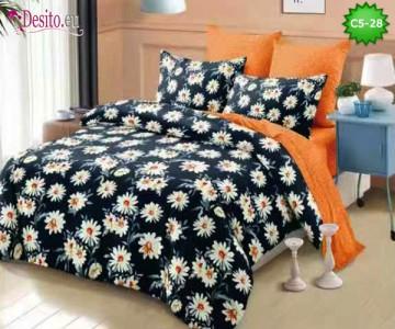 Спално бельо от 100% памук, 6 части и чаршаф с ластик с код C5-28