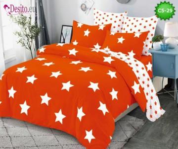 Спално бельо от 100% памук, 6 части и чаршаф с ластик с код C5-29