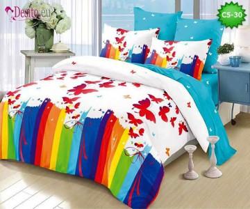 Спално бельо от 100% памук, 6 части и чаршаф с ластик с код C5-30