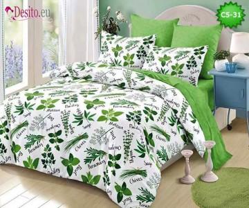 Спално бельо от 100% памук, 6 части и чаршаф с ластик с код C5-31