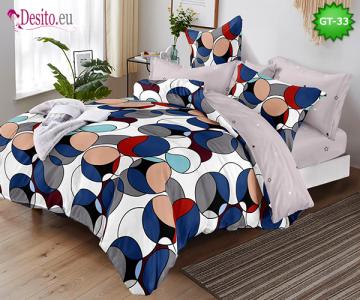 Спално бельо от 100% памук, 6 части и чаршаф с ластик с код GT-33