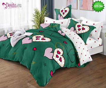 Спално бельо от 100% памук, 6 части и чаршаф с ластик с код GT-34