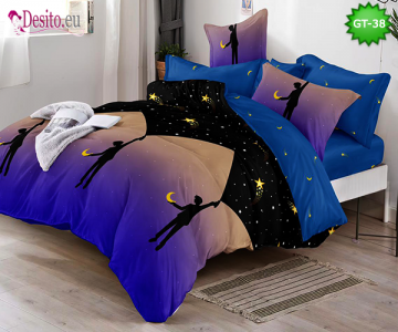 Спално бельо от 100% памук, 6 части и чаршаф с ластик с код GT-38