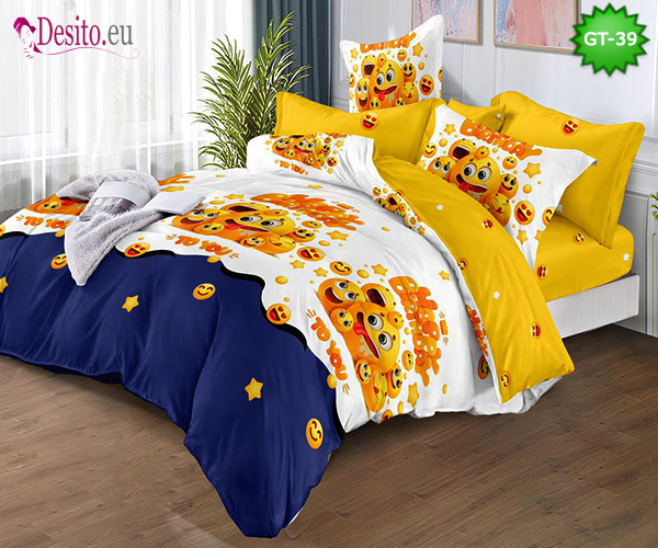 Спално бельо от 100% памук, 6 части и чаршаф с ластик с код GT-39