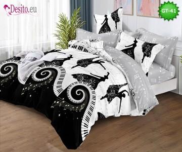 Спално бельо от 100% памук, 6 части и чаршаф с ластик с код GT-41