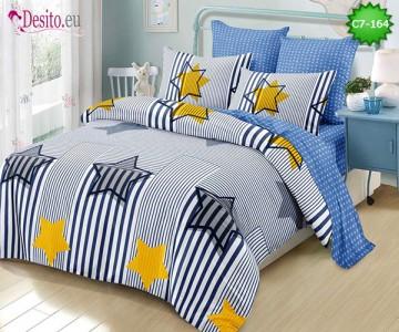 Спално бельо от 100% памук, 6 части - двулицево, с код C7-164