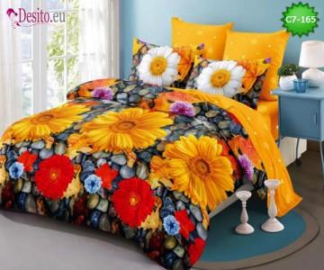 Спално бельо от 100% памук, 6 части - двулицево, с код C7-165