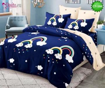 Спално бельо от 100% памук, 6 части - двулицево, с код C7-166