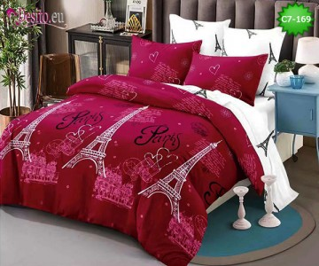 Спално бельо от 100% памук, 6 части - двулицево, с код C7-169