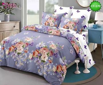 Спално бельо от 100% памук, 6 части - двулицево, с код C7-170