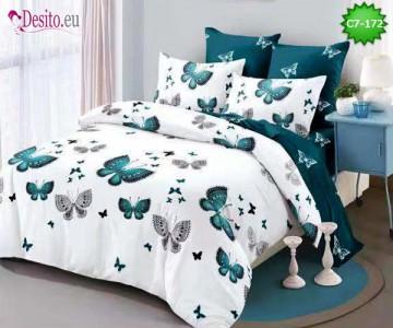 Спално бельо от 100% памук, 6 части - двулицево, с код C7-172