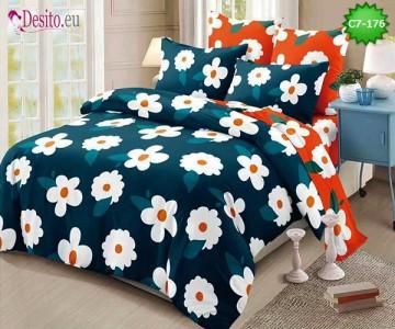 Спално бельо от 100% памук, 6 части - двулицево, с код C7-176