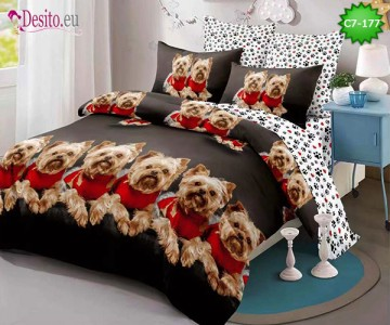 Спално бельо от 100% памук, 6 части - двулицево, с код C7-177