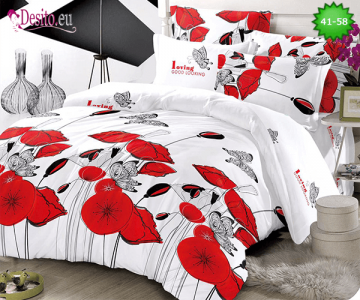 Спално бельо от 100% памук, 6 части - двулицево, с код 41-58