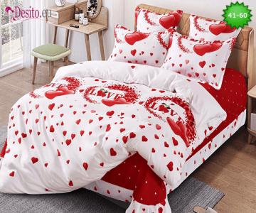 Спално бельо от 100% памук, 6 части - двулицево, с код 41-60