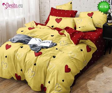 Спално бельо от 100% памук, 6 части - двулицево, с код 41-62