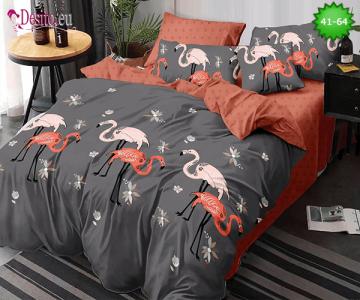 Спално бельо от 100% памук, 6 части - двулицево, с код 41-64