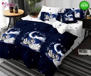 Спално бельо от 100% памук, 6 части - двулицево, с код 41-65