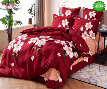 Спално бельо от 100% памук, 6 части - двулицево, с код 41-67