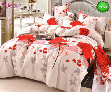 Спално бельо от 100% памук, 6 части - двулицево, с код 41-75