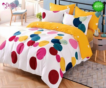 Спално бельо от 100% памук, 6 части - двулицево, с код 41-77