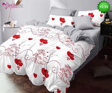 Спално бельо от 100% памук, 6 части - двулицево, с код 41-92