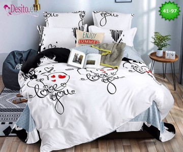 Спално бельо от 100% памук, 6 части - двулицево, с код 41-97