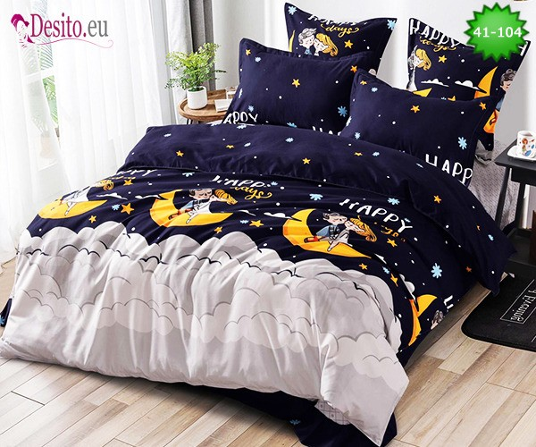 Спално бельо от 100% памук, 6 части - двулицево, с код 41-104