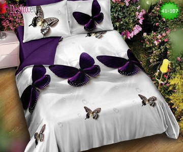 Спално бельо от 100% памук, 6 части - двулицево, с код 41-107