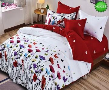 Спално бельо от 100% памук, 6 части - двулицево, с код 41-112