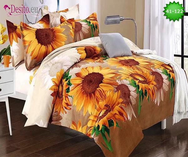 Спално бельо от 100% памук, 6 части - двулицево, с код 41-122