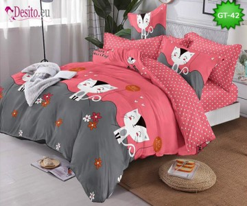 Спално бельо от 100% памук, 6 части и чаршаф с ластик с код GT-42