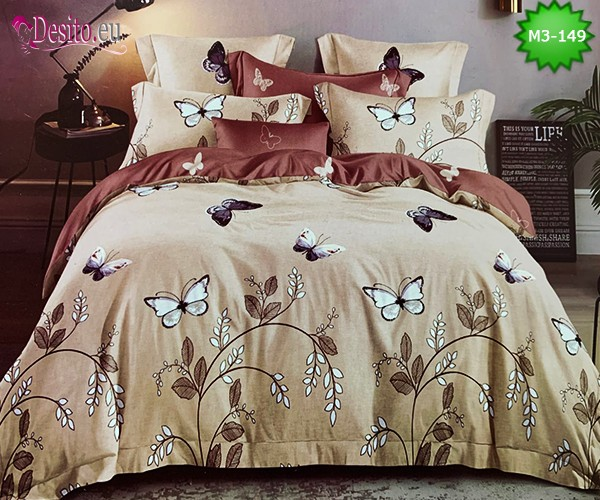Спално бельо от 100% памук, 6 части, двулицево с код M3-149