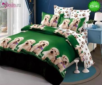 Спално бельо от 100% памук, 6 части и чаршаф с ластик с код C5-41