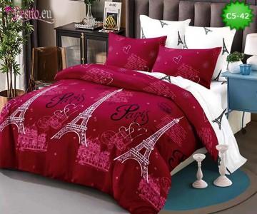 Спално бельо от 100% памук, 6 части и чаршаф с ластик с код C5-42