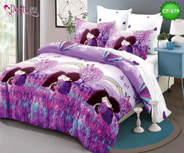 Спално бельо от 100% памук, 6 части - двулицево, с код C7-179