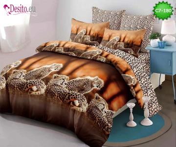 Спално бельо от 100% памук, 6 части - двулицево, с код C7-180