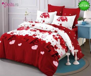 Спално бельо от 100% памук, 6 части - двулицево, с код C7-181