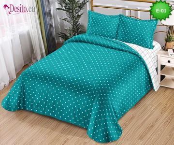 Спално бельо от 100% памук, 4 части и чаршаф с ластик с код E-01