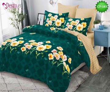 Спално бельо от 100% памук, 6 части - двулицево, с код C7-183