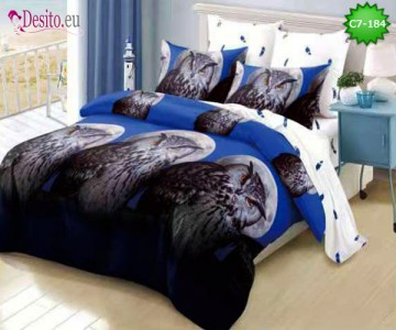 Спално бельо от 100% памук, 6 части - двулицево, с код C7-184