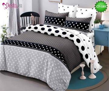 Спално бельо от 100% памук, 6 части - двулицево, с код C7-185