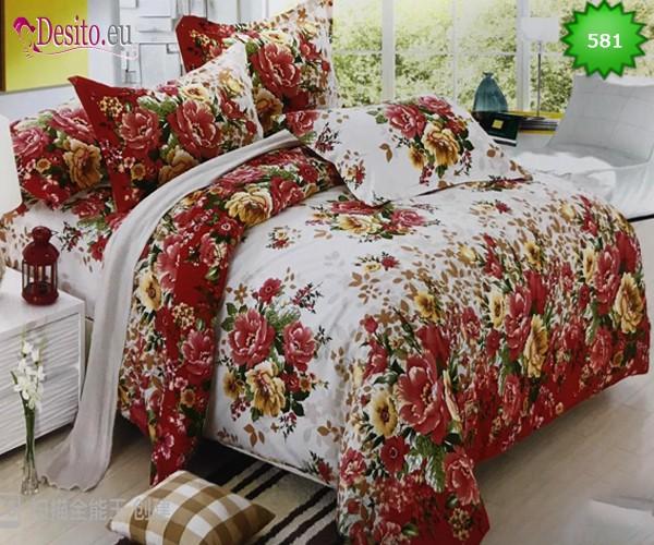Спално бельо от 100% памук, 6 части, двулицево с код 581