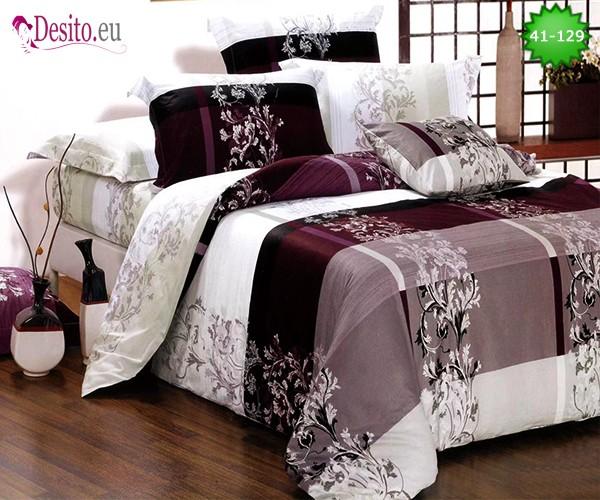 Спално бельо от 100% памук, 6 части - двулицево, с код 41-129