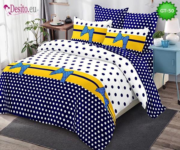 Спално бельо от 100% памук, 6 части и чаршаф с ластик с код GT-50